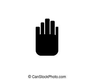 ロゴ, ベクトル, 止まれ, 手