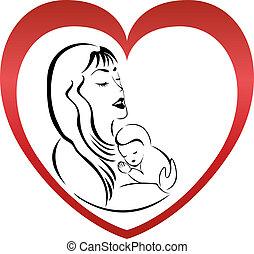 ロゴ, ベクトル, 母, 息子