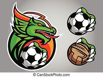 ロゴ, ベクトル, 紋章, フットボール, ドラゴン