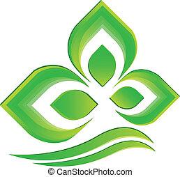 ロゴ, ベクトル, 緑のプラント