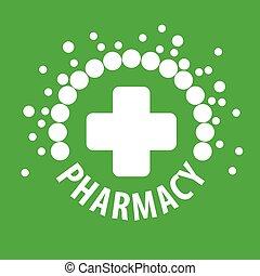 ロゴ, ベクトル, 緑, 丸薬, 背景