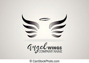 ロゴ, ベクトル, 翼, 天使, アイコン