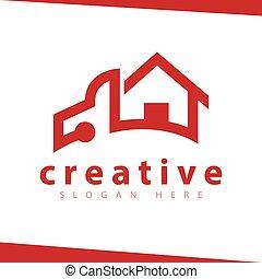 ロゴ, ベクトル, 自動車, 家