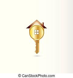 ロゴ, ベクトル, 金のキー, 家