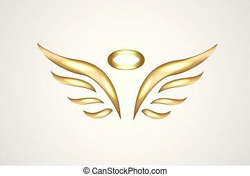 ロゴ, ベクトル, 金, 天使, アイコン