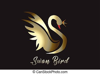 ロゴ, ベクトル, 金, 白鳥