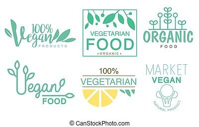 ロゴ, ベクトル, 食物, イラスト, セット, vegan, 緑, 有機体である, 市場, ラベル, プロダクト