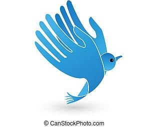 ロゴ, ベクトル, 鳥, 翼, 手