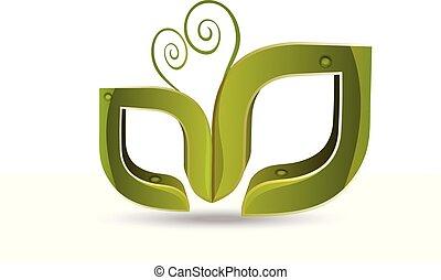 ロゴ, ベクトル, leafs, 自然