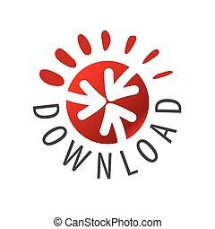 ロゴ, ボタン, ベクトル, 赤い矢印