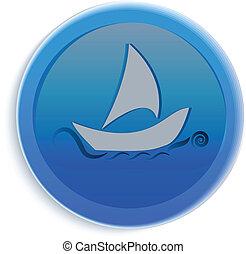 ロゴ, ボタン, ヨット