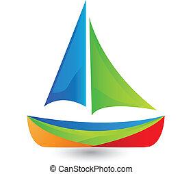 ロゴ, ボート, 色, 鮮やか