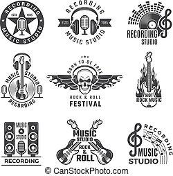 ロゴ, マイクロフォン, 音楽, 大きい, ヘッドホン, labels., レコード, ベクトル, スタジオ, ドラム, 映像, スピーカー