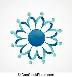 ロゴ, ミーティング, 共同体, チームワーク