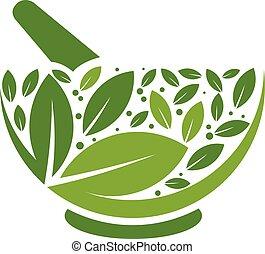 ロゴ, モルタル, 草, すりこぎ