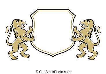 ロゴ, ライオン, 腕, コート