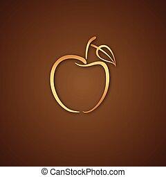 ロゴ, 上に, アップル, ブラウン