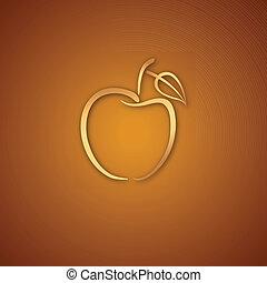 ロゴ, 上に, カラメルリンゴ