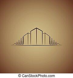 ロゴ, 上に, 建築家, ブラウン