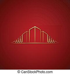 ロゴ, 上に, 建築家, 赤