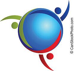 ロゴ, 世界的である, チームワーク, 人々
