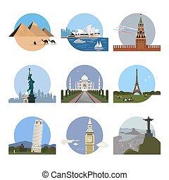 ロゴ, 世界, デザイン, テンプレート, 国