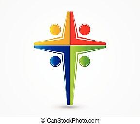 ロゴ, 交差点, 統一, 人々