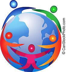 ロゴ, 人々, のまわり, 世界