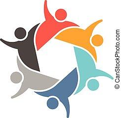 ロゴ, 人々, グループ, チームワーク