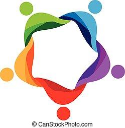 ロゴ, 人々, チームワーク, のまわり, アイコン