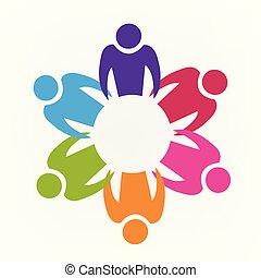 ロゴ, 人々, チームワーク, アイコン