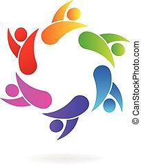 ロゴ, 人々, チームワーク, ビジネス