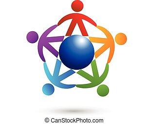 ロゴ, 人々, チームワーク, 世界貿易