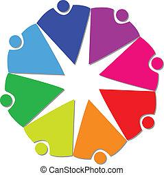 ロゴ, 人々, チームワーク, 共同体, 8