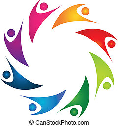 ロゴ, 人々, チームワーク, 幸せ, 8
