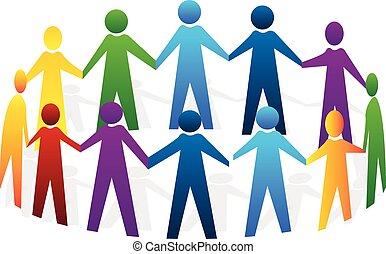 ロゴ, 人々, チームワーク, 手を持つ