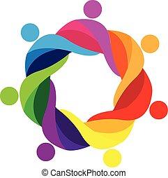 ロゴ, 人々, チームワーク, 抱きしめられた, アイコン