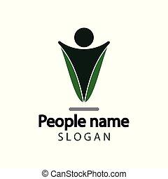 ロゴ, 人々, チームワーク, icon., ベクトル, イラストレーター