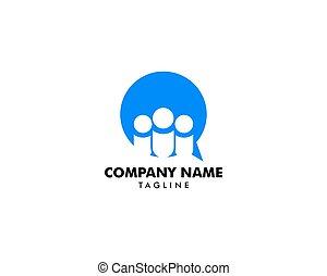 ロゴ, 人々, デザイン, チャットグループ