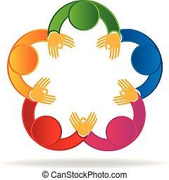 ロゴ, 人々, ミーティング, チームワーク