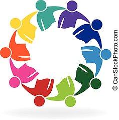 ロゴ, 人々, ミーティング, ビジネス, チームワーク