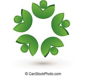 ロゴ, 人々, 健康, leafs, チームワーク