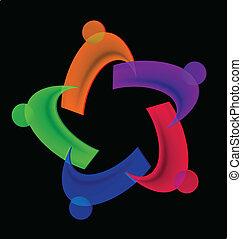ロゴ, 人々, 多様性, チームワーク