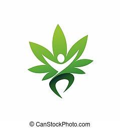ロゴ, 人々, 幸せ, インド大麻, デザイン, ベクトル