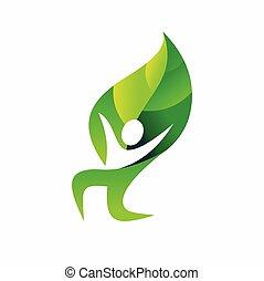 ロゴ, 人々, 幸せ, デザイン, 葉, ベクトル