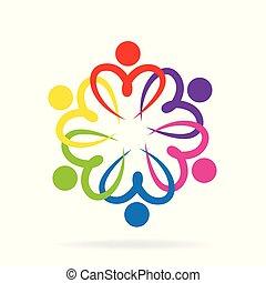 ロゴ, 人々, 愛, チームワーク
