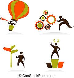 ロゴ, 人々, 抽象的, -, コレクション, 1