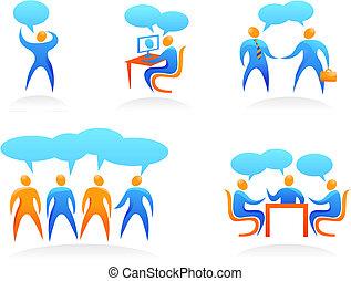 ロゴ, 人々, 抽象的, -, コレクション, 4