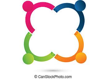 ロゴ, 人々, 接続される, チームワーク