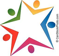 ロゴ, 人々, 星, カラフルである, チームワーク